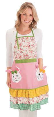 Floral Bunny Pocket Easter Kitchen Apron