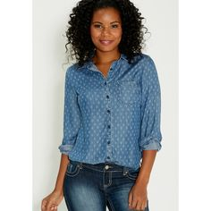 13e188731 maurices Chambray Button Down Shirt In Arrow Print ($39) ❤ liked on  Polyvore featuring