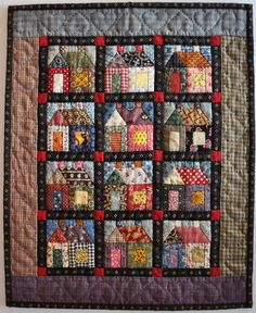 Beautiful house quilt from jeanneke.com. Check out the link for a blog devoted to these little houses.