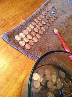 Fun fine motor activity for your older ones, polishing pennies! Just need vinegar, salt, and pennies :)