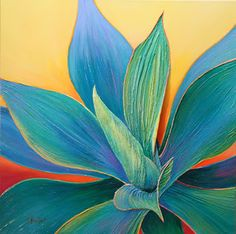 Fantasy Blends with Reality in intimate views of succulents by acrylic contemporary fine artist, Sandi Whetzel, this July at D. Watercolor Cactus, Watercolor Art, Cactus Art, Leaf Art, Acrylic Art, Acrylic Paintings, Painting Inspiration, Flower Art, Modern Art