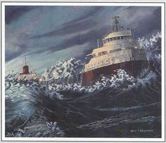 """A painting of the Edmund Fitzgerald titled """"Shoal Waters"""" by Mary C. Edmund Fitzgerald, Ella Fitzgerald, Great Lakes Ships, The Fitz, Merchant Navy, Float Your Boat, Upper Peninsula, Shipwreck, Lake Superior"""