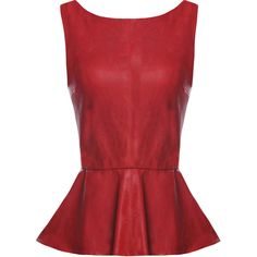 Alice + Olivia Martin Leather Peplum Top featuring polyvore, fashion, clothing, tops, shirts, blusas, blouses, red top, shirts & tops, red peplum shirt, leather shirt and red shirt