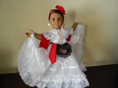"Mexican folklorico Veracruz dress for 18"" dolls like American Girl"
