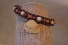 Beaded Bracelet with Orange Sea Shell by FruFruDesign on Etsy