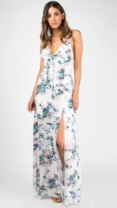 Tie A Bow Floral Maxi Dress