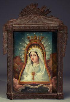 Nuestra Señora de la Cueva Santa A Mexican retablo painting of Our Lady of the Holy Cave.