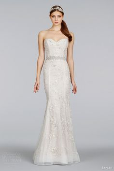 lazaro spring 2014 bridal champagne beaded embroidered strapless sheath gown style 3411