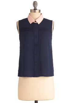 Who Could Be Board-walk Top - Short, Casual, Blue, Pink, Color Block, Pleats, Menswear Inspired, Sleeveless