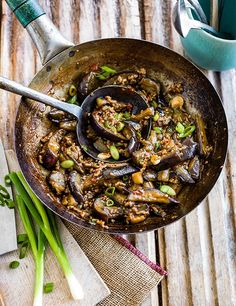 This is a version of yu xiang qie zi, fish flavoured aubergine, so called because the flavours are usually used with fish. Buy Chinese black vinegar from Waitrose, souschef.co.uk, or Asian supermarkets. Leave the pork out to make this vegetarian.
