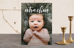 """Extra cheer this year"" - Typography, Typography Holiday Birth Announcements in cranberry by Lea Delaveris."