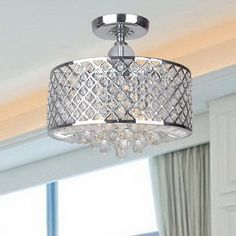 Evelyn Chrome and Crystal Ceiling Flush-mount Chandelier - 16613863 - Overstock.com Shopping - Big Discounts on The Lighting Store Flush Mounts