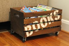 Parents! Say goodbye to the children's messy book pile! What what. Cheap and easy book crate #DIY