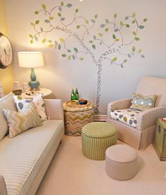 Nursery - Design photos, ideas and inspiration. Amazing gallery of interior design and decorating ideas of Nursery in nurseries by elite interior designers. Sarah Richardson, Chic Baby Rooms, Room Baby, Tree Stencil For Wall, Tree Wall, Counselling Room, Deco Kids, Nursery Wall Art, Calming Nursery