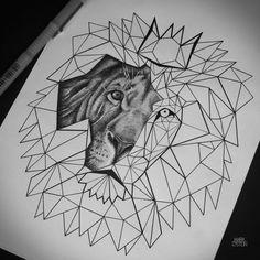 geometric lion tattoo design