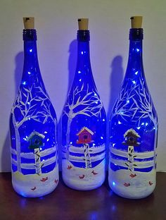 Diy Wine Bottle Crafts diy crafts for mini wine bottles Mini Wine Bottles, Christmas Wine Bottles, Wine Bottle Art, Painted Wine Bottles, Lighted Wine Bottles, Bottle Lights, Diy Bottle, Glass Bottles, Glass Bottle Crafts