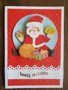 3D decoupage handmade embossed Christmas greeting card - Santa Claus pulling presents from his bag, lovely christmas card by ArtDenia on Etsy