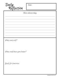 003 Free Printable Daily Reflection worksheet. Make reflective