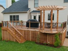 Trex and cedar wood deck.