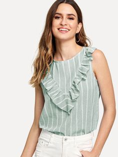 Green Cute Round Neck Sleeveless Striped Fabric has no stretch Summer Blouses, size features are:Bust: ,Length: Regular ,Sleeve Length:Sleeveless Green Fashion, Look Fashion, Fashion News, Fashion Women, Summer Blouses, Summer Shirts, Moda Chic, Shell Tops, Shirt Blouses