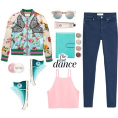 Silk bomber by gul07 on Polyvore featuring Gucci, MANGO, Converse, Lodis, Le…