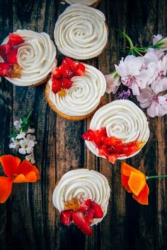 Citrus Cornmeal Cupcakes with Fresh Strawberries, Fig Jam, and Goat Cheese Frosting