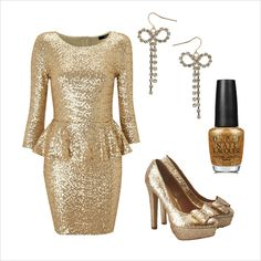 Golden Angel - New Year's Eve Outfit Ideas. Wear gold dress, black blazer, heels or gold flats, gold dangle earrings and metallic nail polish