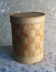 Купить туес из бересты с плетением - бежевый, туес из бересты, упаковка подарочная, сувениры ручной работы