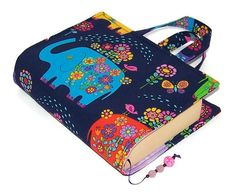 Handmade Book Cover Bag Elephants on Parade by WhimsyWooDesigns