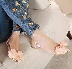2015 spring summer new women shallow mouth sweet Bow singles shoes Metal pointed Patent leather Transparent Princess flat shoes-in Women's Flats from Shoes on Aliexpress.com | Alibaba Group