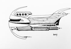 Spaceship #28 - May 28 2016 - ink on paper by Steven H MacDowall 7 inches = 17.78cm X 5 inches = 12.7cm (width x height).