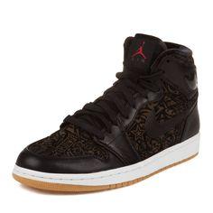 "Nike Mens Air Jordan 1 Retro HI Premier ""Laser"" Black/Varsity Red-White Leather Basketball Shoes Size 9.5"