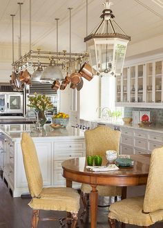 What an unusual pot rack...looks like plumbing pipe?  Looks great with the copper pots and the white cabinetry!