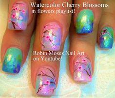 Nail Art Tutorial | Easy Cherry Blossom Nails | Watercolor Ombre Nail De...