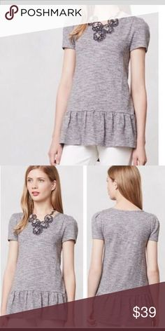 Anthropologie Nora Peplum NWT NWT. Super cute Peplum in a tad thicker then a tee but not a sweater.  By Leifnotes. Anthropologie Tops