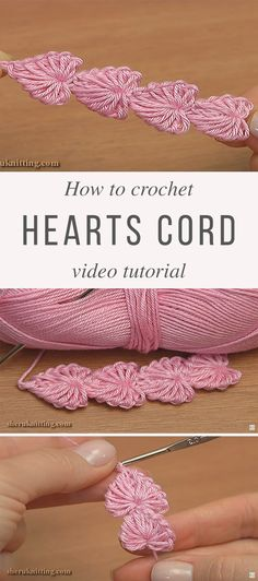 Learn To Make Hearts Crochet Cord Hearts Cord Crochet Pattern Tutorial Gilet Crochet, Crochet Cord, Crochet Motifs, Crochet Flower Patterns, Crochet Stitches Patterns, Easy Crochet, Crochet Flowers, Knitting Patterns, Tutorial Crochet