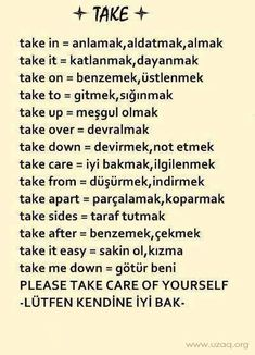 "Most used phrasal vers with the word ""take. Learn English Grammar, Learn English Words, English Vocabulary, English Language, English Tips, English Study, English Lessons, English Exam, Turkish Lessons"