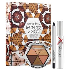 Smashbox Wondervision Eye Set. I actually am getting one for christmas (the plum one). But in person, it's stunning. There's matte, metallic, chunky glitter, and shimmery shades in all 3 palettes. Plus your getting 2 full size products :)