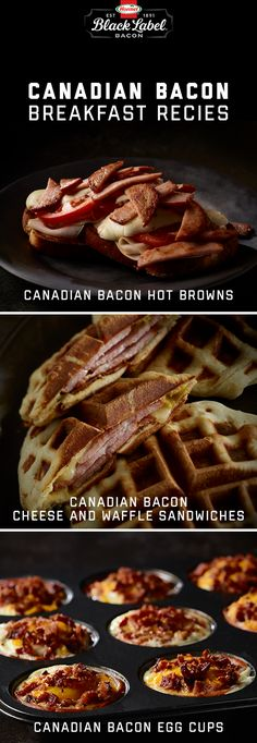 In honor of our friends to the north, enjoy these Canadian Bacon-inspired recipes. l Maple syrup l Breakfast l Waffles l Egg Cups l Browns l BLACK LABEL® Thick Cut Canadian bacon Savory Waffles, Hot Brown, Waffle Sandwich, Canadian Bacon, Egg Cups, Maple Syrup, Ham, Breakfast Recipes, Sandwiches