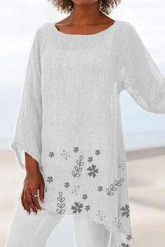 Plus Size Floral Print Irregular Women Summer Blouses – narachic Vintage Prints, Vintage Floral, Vintage Linen, Vintage Bohemian, Half Sleeves, Types Of Sleeves, Summer Blouses, Linen Blouse, Diy