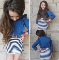"""Adorable girls denim dress available in """"Brynley's Corner"""" at our Peoria location!"""