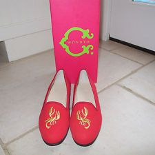 """C Wonder Red Canvas """" Gold Lobster's """" flats. Size New with box. Wonder Red, Smoking Slippers, Flats, Canvas, Box, Shopping, Loafers & Slip Ons, Tela, Snare Drum"""