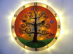 Lighted Clock Tree of Life Large, Silent Wall Clock,  Personalized Wedding Gift , Glass, Unique clock, Personal inscription Handmade Clocks, Unique Clocks, Wall Clock Light, Wall Clocks, Night Light, Light Up, Led Garland, Spiritual Decor, Life Symbol