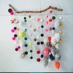 Shake your pom poms, it's the weekend! (Wall hanging and by @deehaim). #pompom #artsandcrafts #wallhanging #color #decor #danahaimtextiles