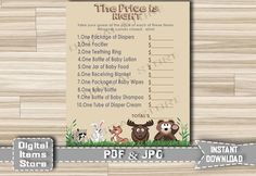 Woodland Printable Price is Right, Woodland Baby Shower Game - Price Is Right Woodland - Baby Shower price is right - Price is Right games by DigitalitemsShop on Etsy