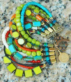 Caribbean Cuff: Exotic Island Inspired Turquoise, Lime, Orange & Black Cuff Bracelet $200