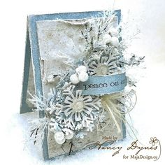 Absolutely wonderful card by Nancy Dynes. Papers from Vintage Frost Basics. <3  #card #cardmaking #cardinspiration #papercraft #papercrafting #papercrafts #scrapbooking #majadesign #majadesignpaper #majapapers #inspiration #vintage