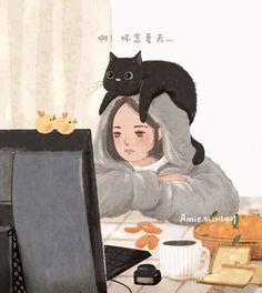 by Annie Zhang (Annie Z. Wallpaper Gatos, Cute Cat Wallpaper, Cartoon Wallpaper, Kawaii Drawings, Cartoon Drawings, Cartoon Art, Illustrations, Illustration Art, Jolie Photo