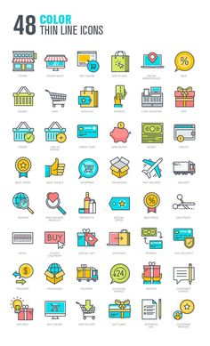 Set of Thin Line Icons for Shopping Thin Flat Design Icons, Web Design, Icon Design, Icons Web, Thin Line, Store Icon, Flowery Wallpaper, Icons, Stencils