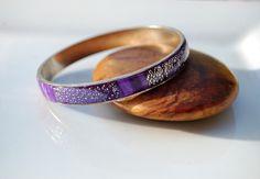 Bracelet rigide violet lilas argenté pâte polymère support métal argenté - Collection Week End : Bracelet par perles-et-petales